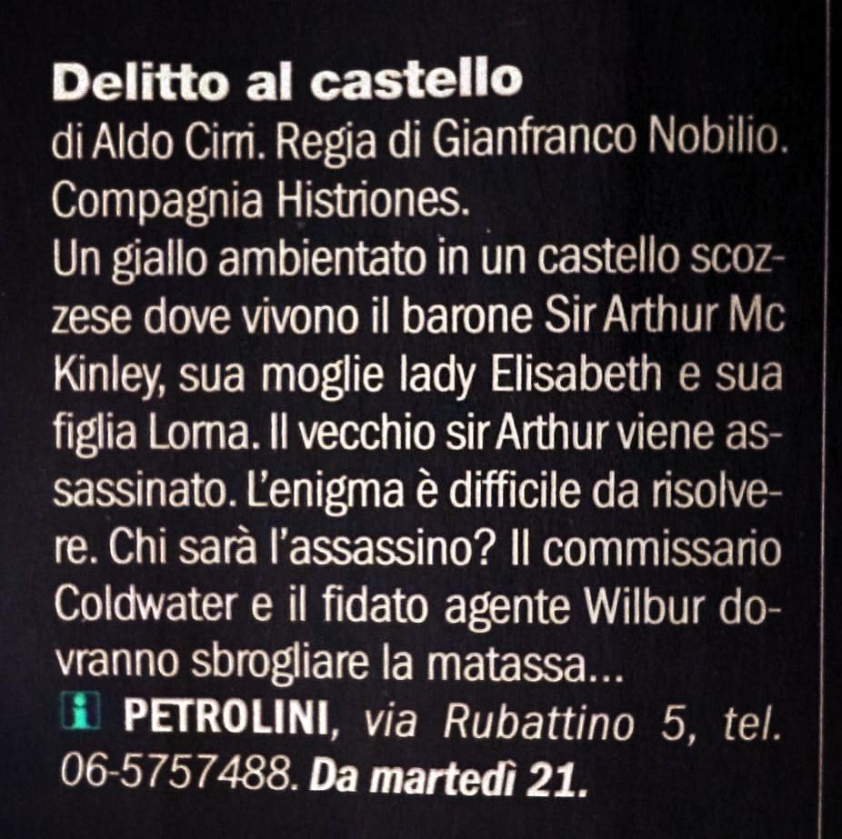 image: Delitto al castello - Trovaroma Repubblica 19-05-15